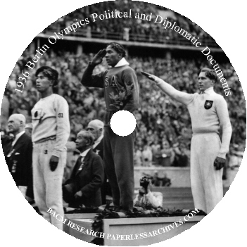 1936 Berlin Olympics Political and Diplomatic Documents CD-ROM