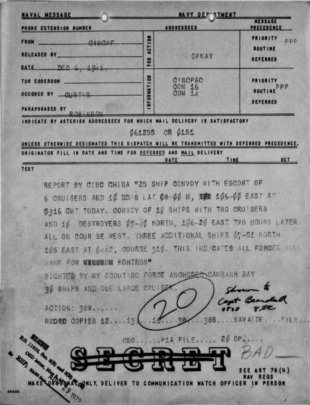 1941-12-06-Contact-Report-on-vessels-at-sea-the-day-before-the-attack-on-Pearl-Harbor