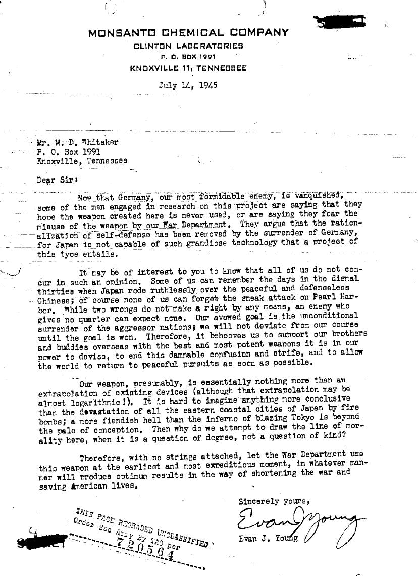 world war ii war department atomic bomb development manhattan a 14 1945 memo from a manhattan project scientist presenting a different view from