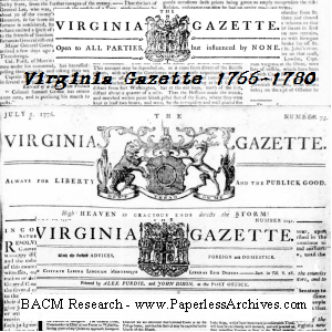 American Revolution Newspapers: Virginia Gazette 1766 to 1780