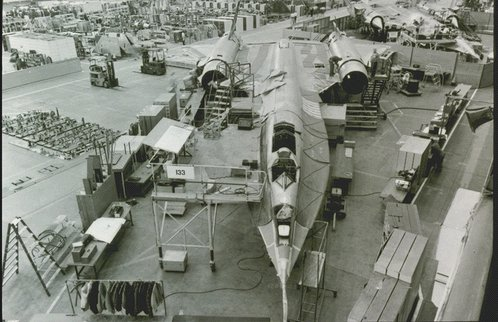An A-12 Blackbird under construction, 1964