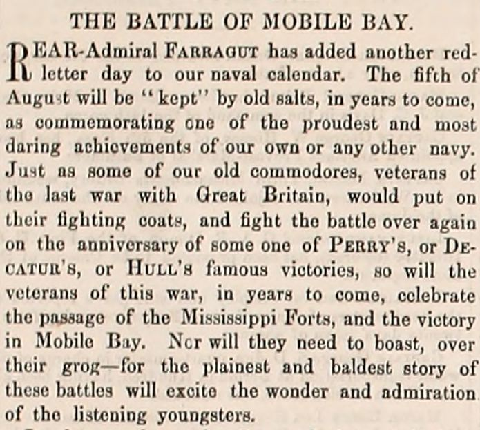 Army Navy Journal Article on the Battle of Mobile Bay between Farragut and Buchanan