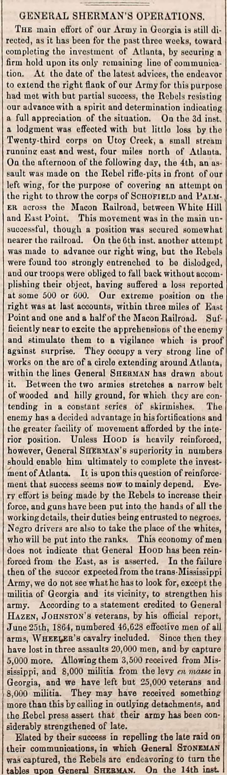 Army Navy Journal Article on the early days of Sherman's March