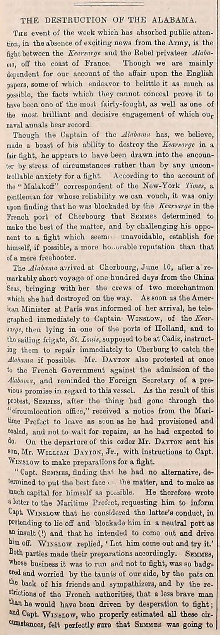 Army Navy Journal article on the June 19, 1864 sinking of the CSS Alabama by the USS Kearsarge off the coast of Cherbourg, France