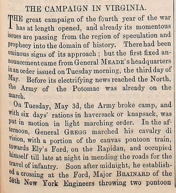 Army Navy Journal article on the beginning of the Virginia Campaign in 1863