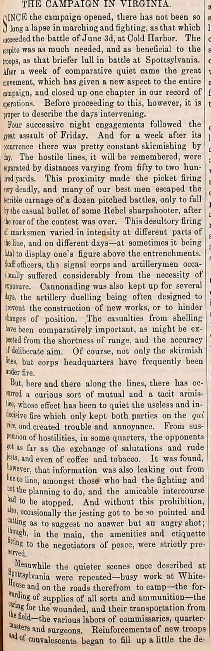 Army Navy Journal article on the progress of the Virginia Campaign