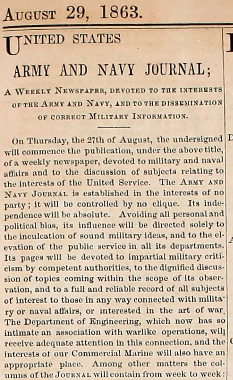 Army Navy Journal statement of purpose from first issue