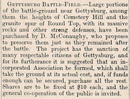 Article from the Army Navy Journal concerning the Battle of Gettysburg battleground