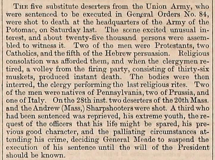 Article from the Army Navy Journal concerning the execution of deserters