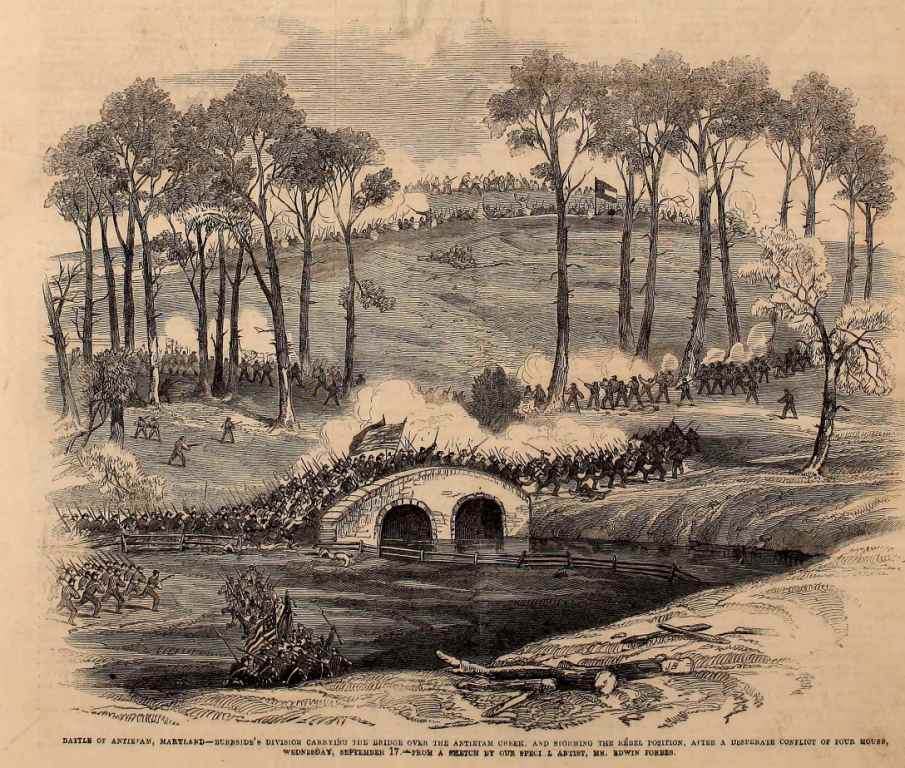 Battle of Antietam, Maryland Burnside's division carrying the bridge over the Antietam Creek, and storming the Rebel position, after a desperate conflict of four hours, Wednesday, September 17