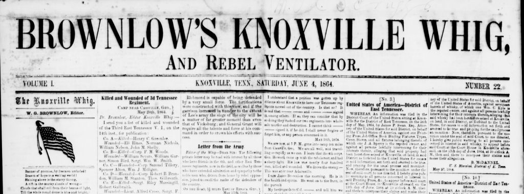 Brownlow's Knoxville Whig and Rebel Ventilator Masthead