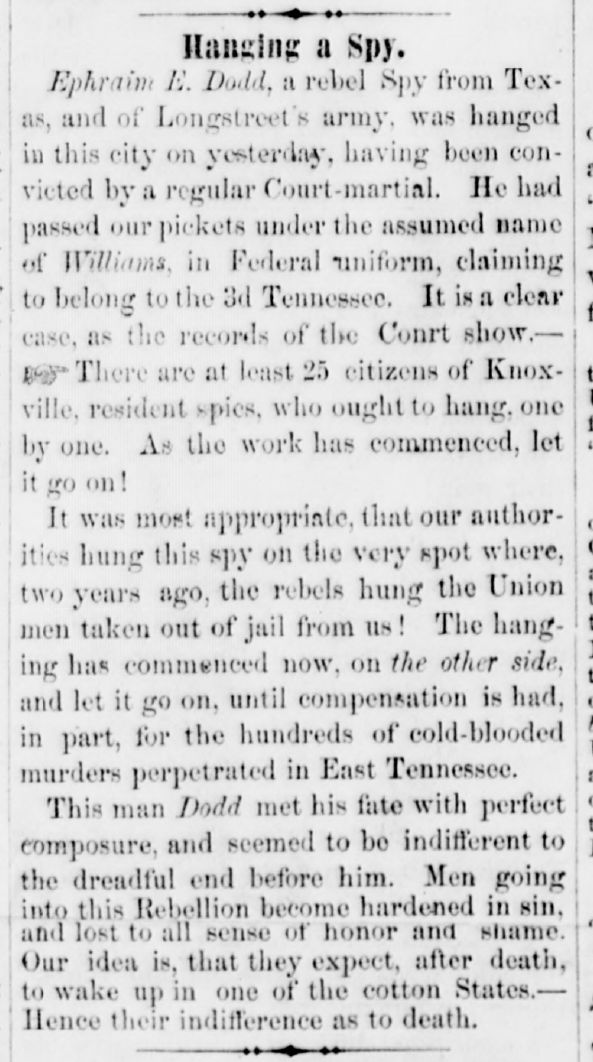 Brownlow's Knoxville Whig and Rebel Ventilator article 2