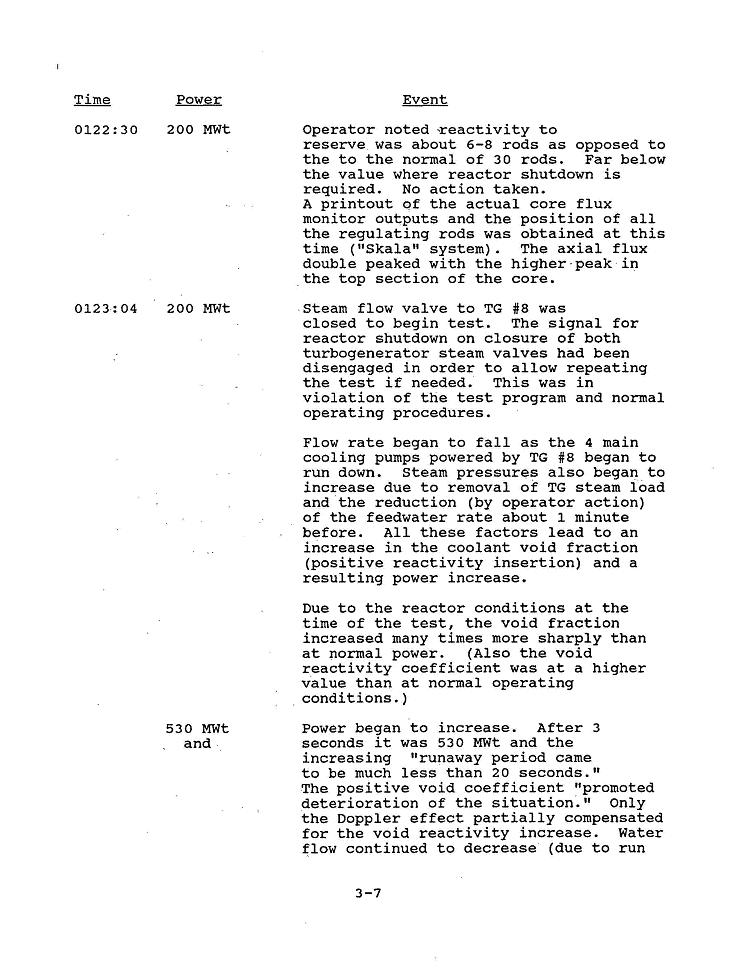 Chernobyl Disaster timeline, third page of a chronology from a Department of Energy report