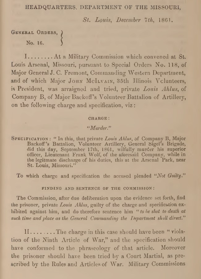 Civil War court martial document from the trial of Private Louis Ahlus charged with the murder of his superior officer, Lieutenant Frank Wolf