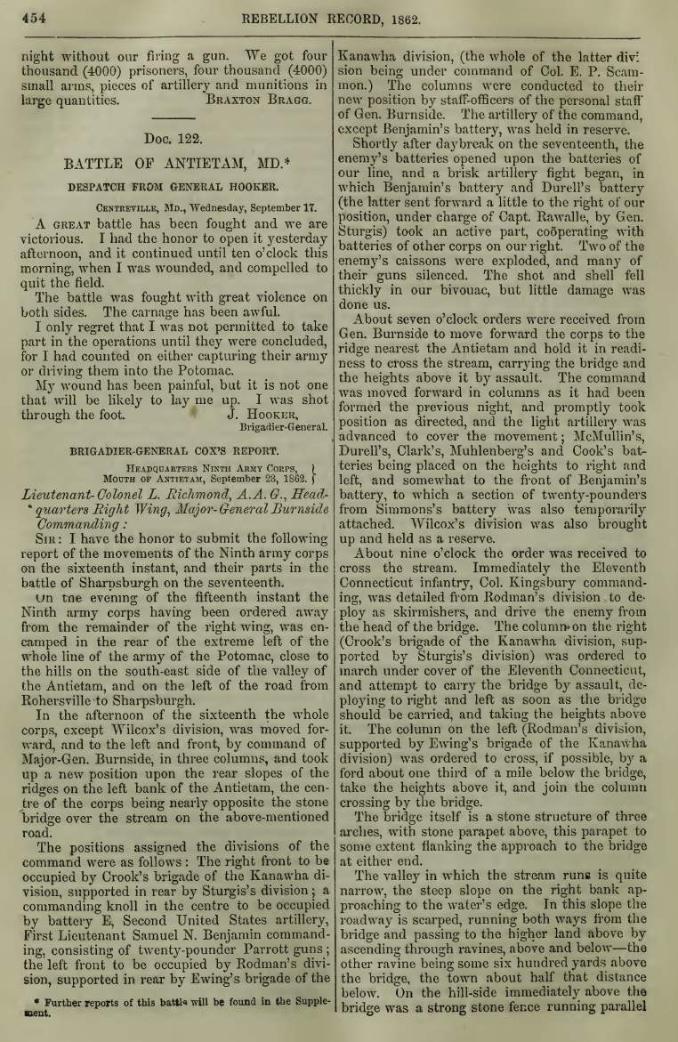 Dispatches and reports after the Battle of Antietam printed in the document section of Volume 5 of the Rebellion Record