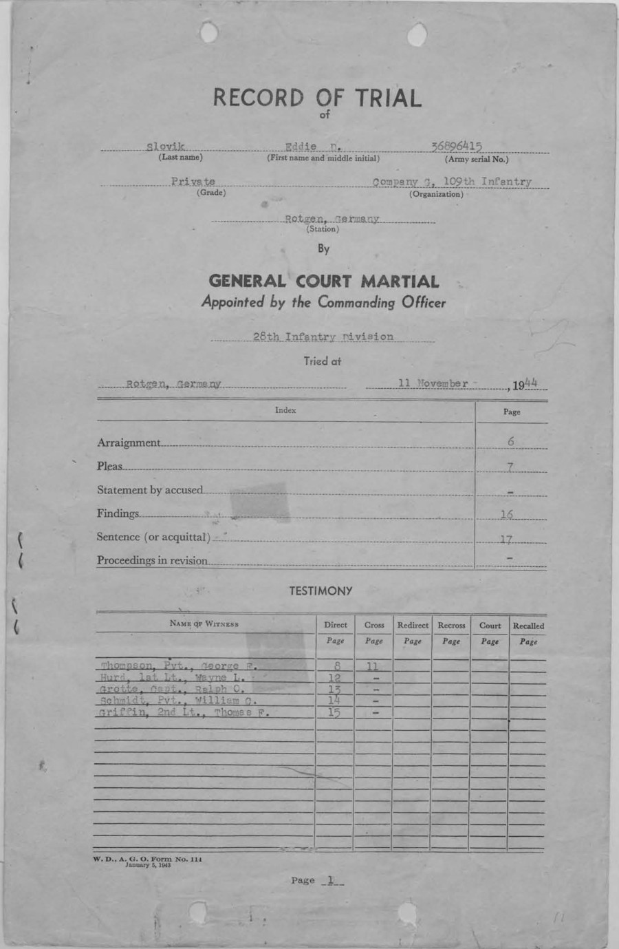 world war ii: eddie slovik court martial and execution documents