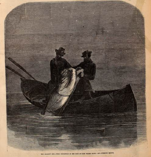 Frank Leslie's Illustrated Weekly illustration of the dumping of the body of John Wilkes Booth into the Potomac River