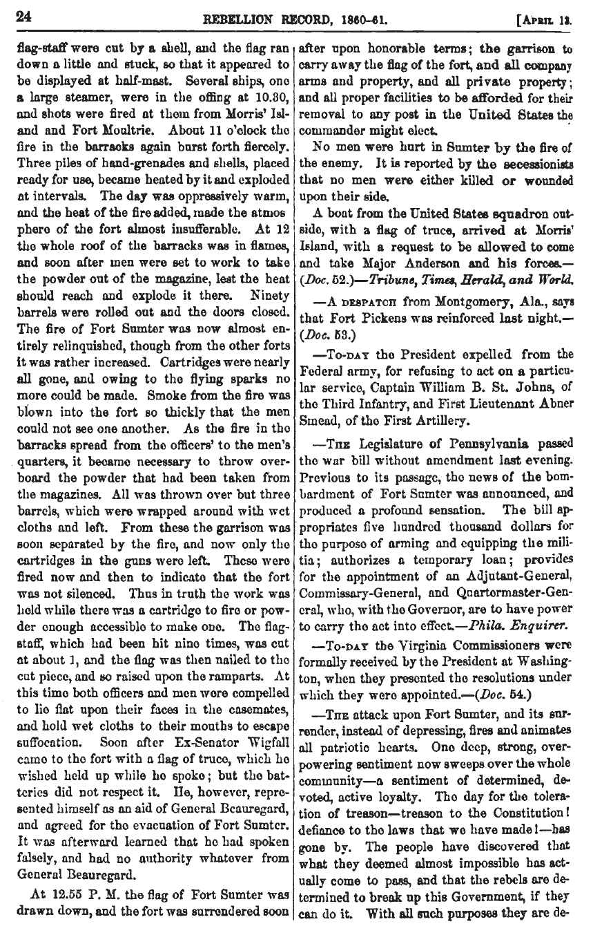 Information about the Union surrender at Ft. Sumter after two days of bombardment in the Rebellion Record Volume 1