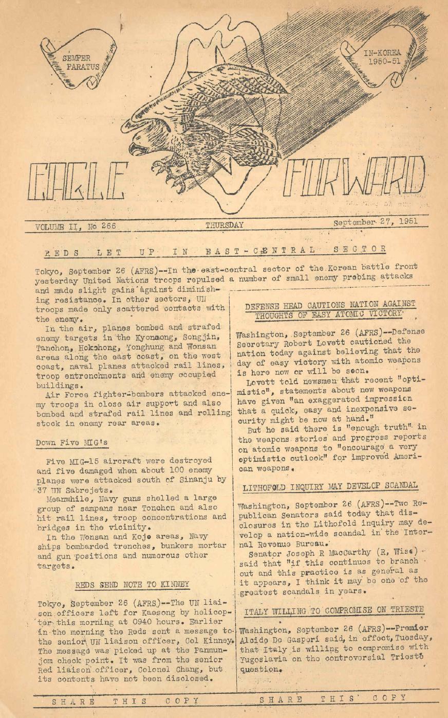 Korean War Newspaper Korean-war-newspaper-eagle
