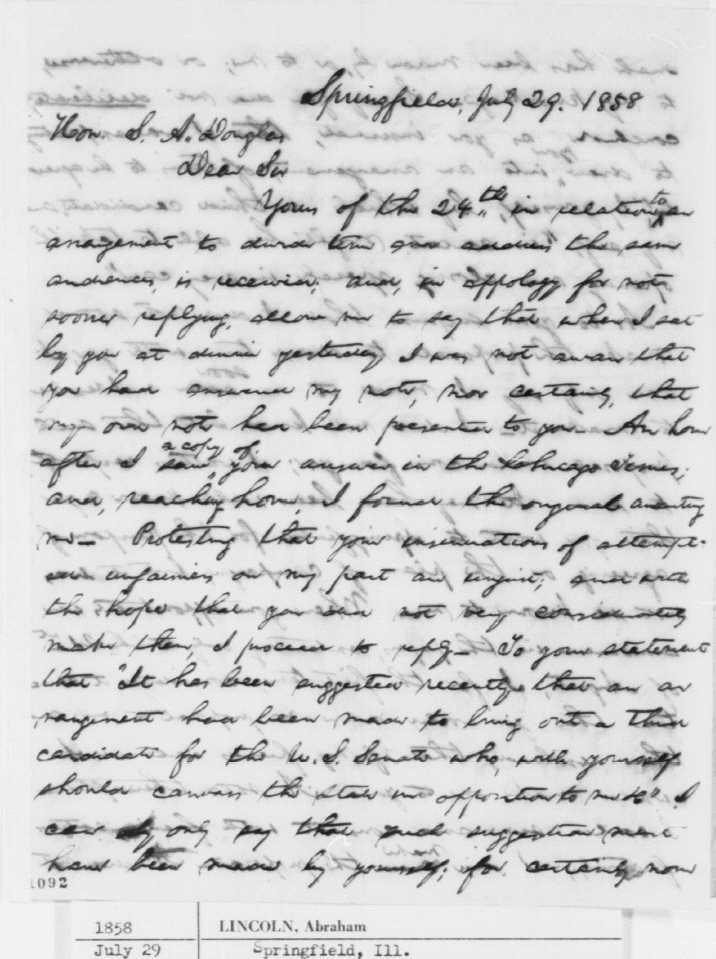 Abraham Lincoln Stephen Douglas Debates Election Of