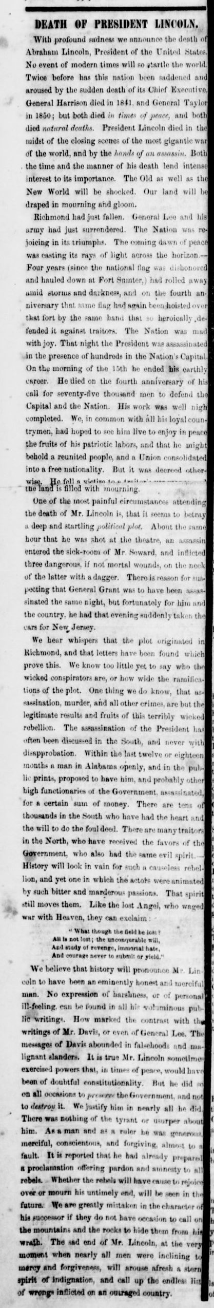Lincoln Assassination Brownlow's Knoxville Whig and Rebel Ventilator article