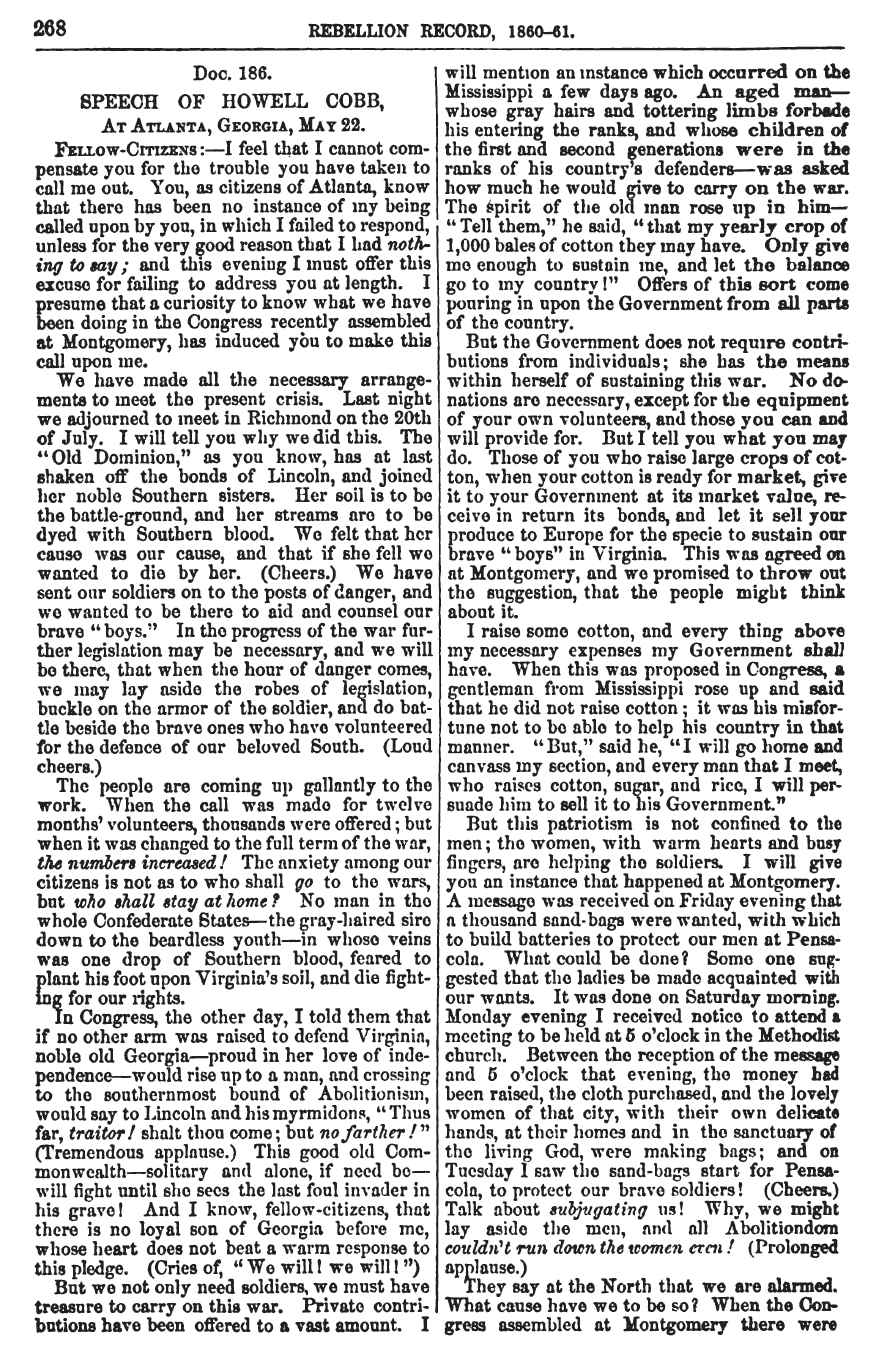 May 22, 1861 speech by Thomas Cobb  published in the first volume of the Rebellion Record