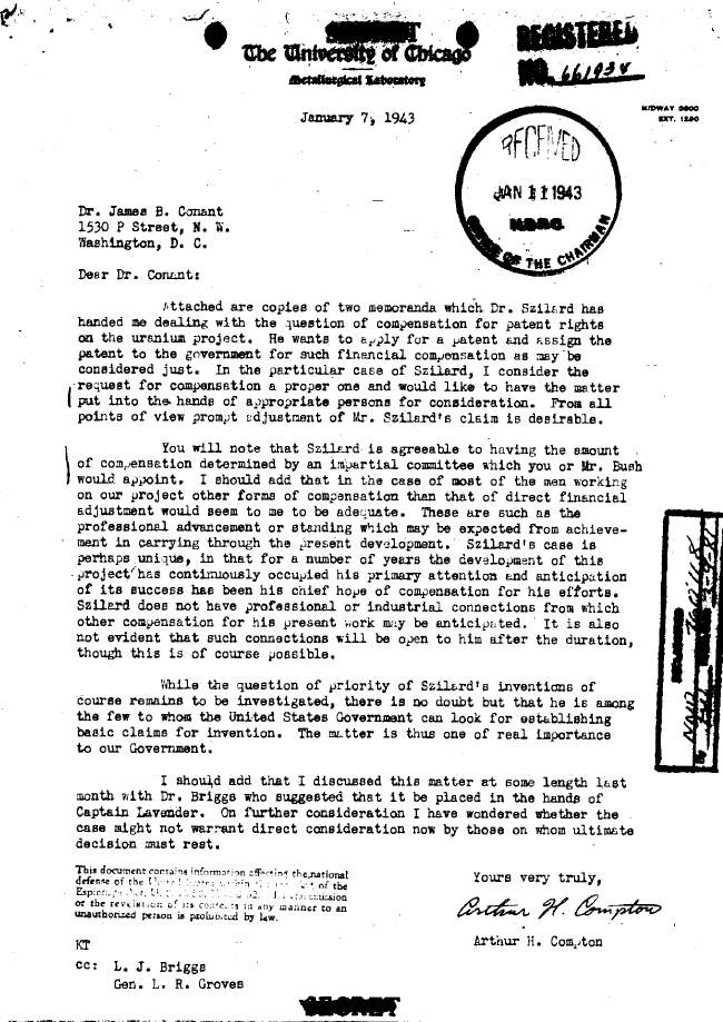 Memo concerning correspondence from Leo Szilard addressing patent rights