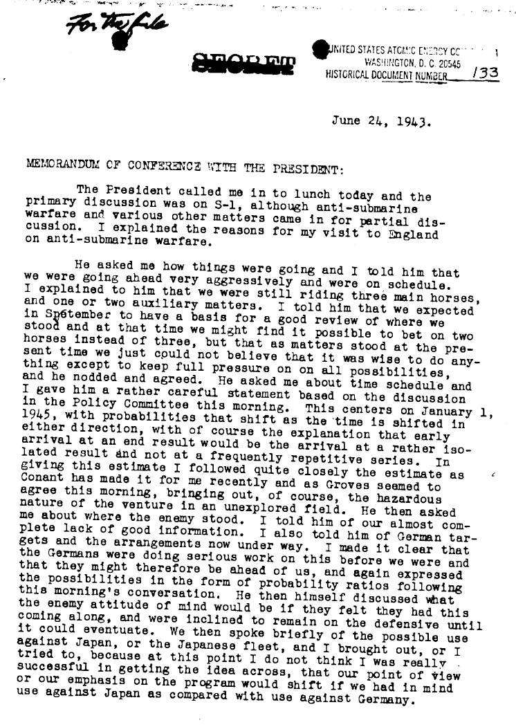 Memo on conference with President Roosevelt