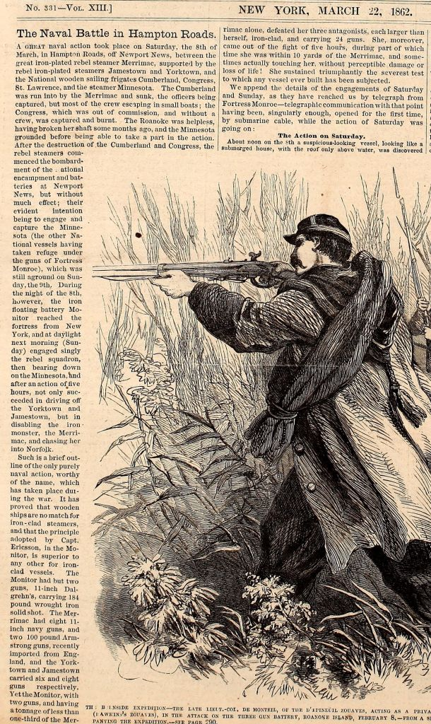 Monitor and Merrimac Battle of Hampton Roads article from Frank Leslie's Illustrated Weekly