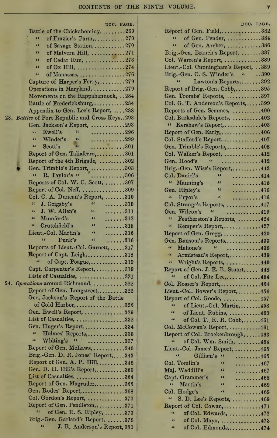 One page from the table of contents from Volume 9 of the Rebellion Record