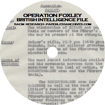 World War II Operation Foxley Hitler Assassination Plan CD-ROM