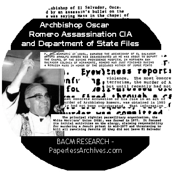 Romero Assination CIA and State Dept Files CD-ROM