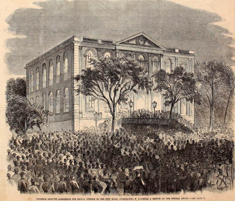 Succession orators addressing the people outside the City Hall, Charleston, S.C. - November 24, 1860 issue of Frank Leslie's Illustrated Weekly
