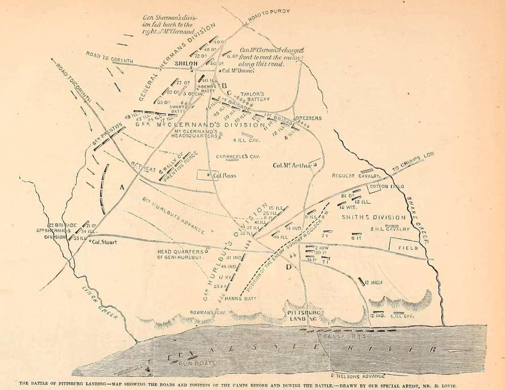 The Battle of Pittsburg Landing - Map showing the roads and position of the camps before and during the battle