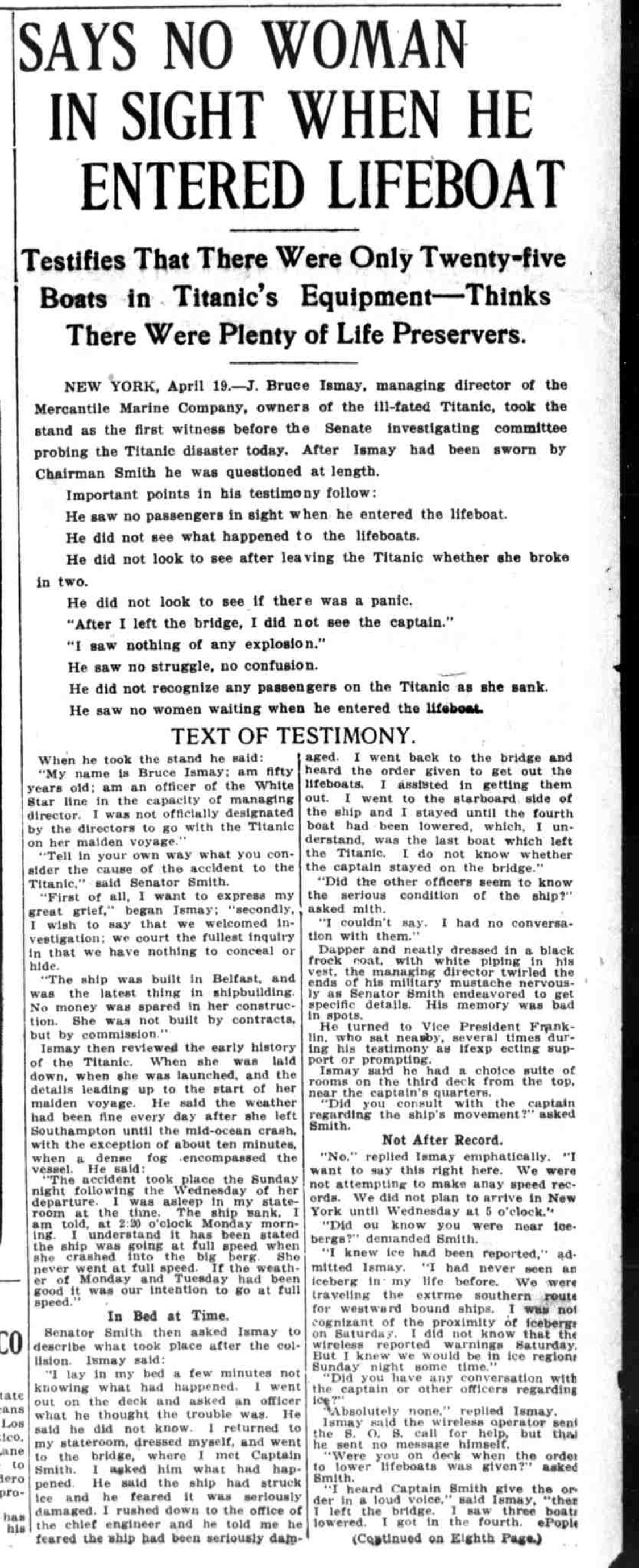 Titanic Newspaper Article 1912-04-19 The Washington Times, April 19, 1912, LAST EDITION, Page 1
