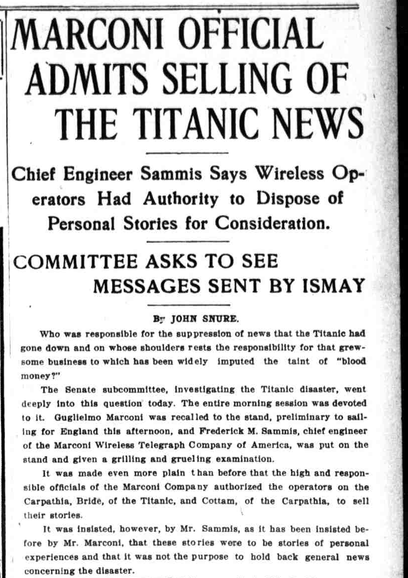 Titanic Newspaper Article 1912-04-29 The Washington Times, April 29, 1912, LAST EDITION, Page 1