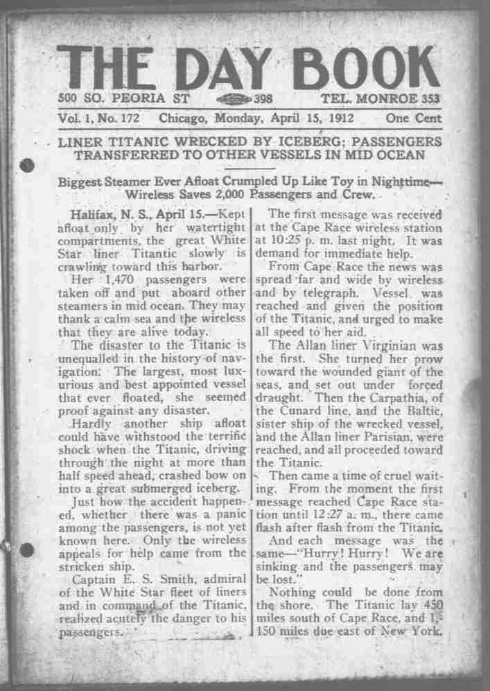 Titanic Newspaper Front Page 1912-04-15 The Day Book (Chicago, IL), April 15, 1912, Page 1