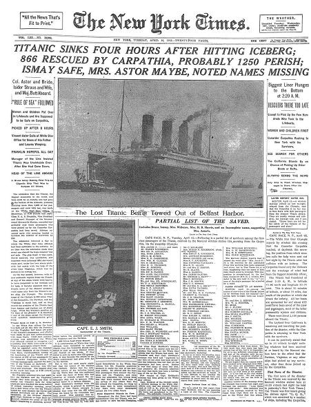 Titanic Newspaper Front Page 1912-04-16 New York Times, April 16, 1912 Page 1