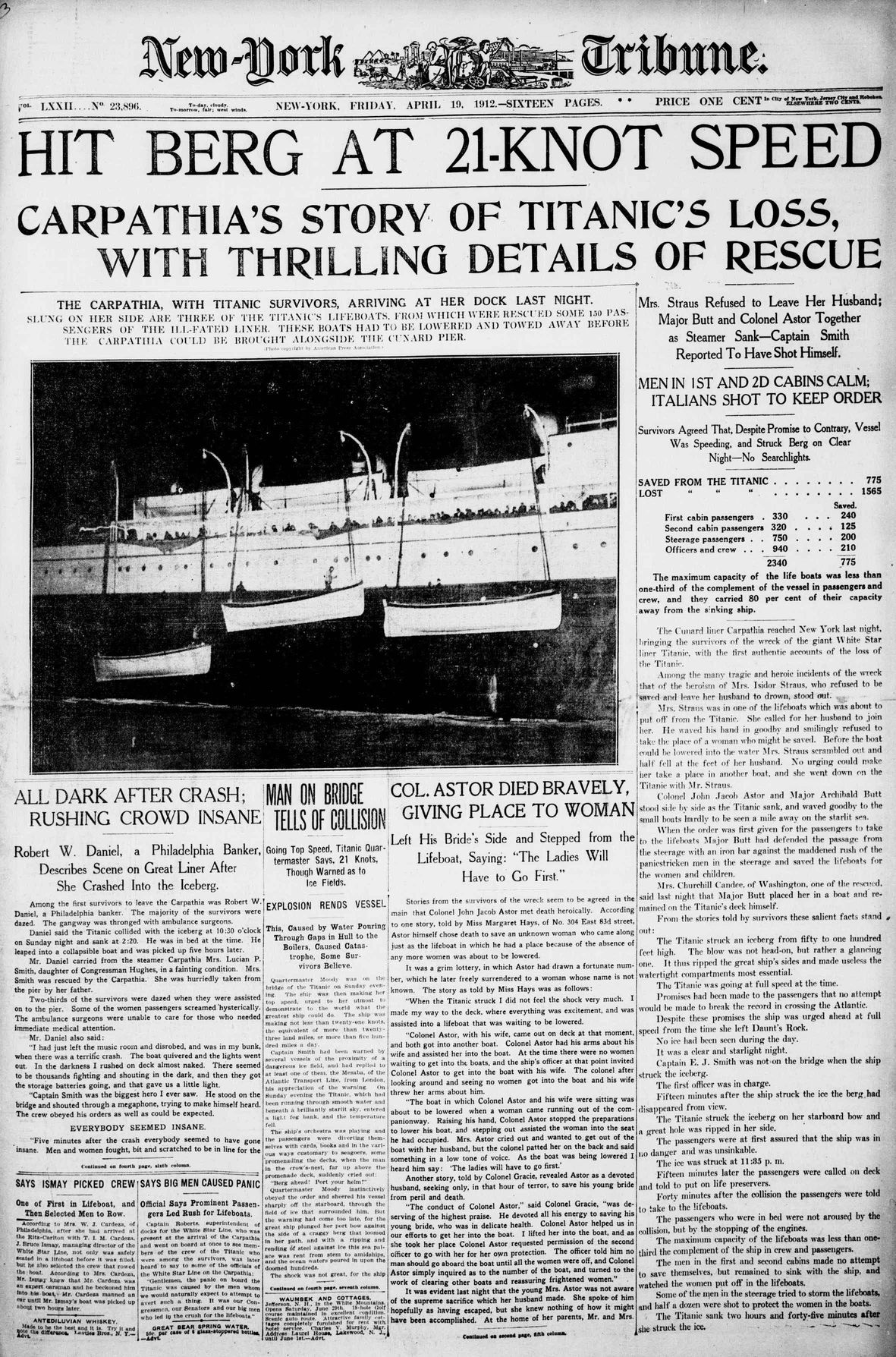 Titanic Newspaper Front Page 1912-04-19 New-York Tribune, April 19, 1912, Page 1