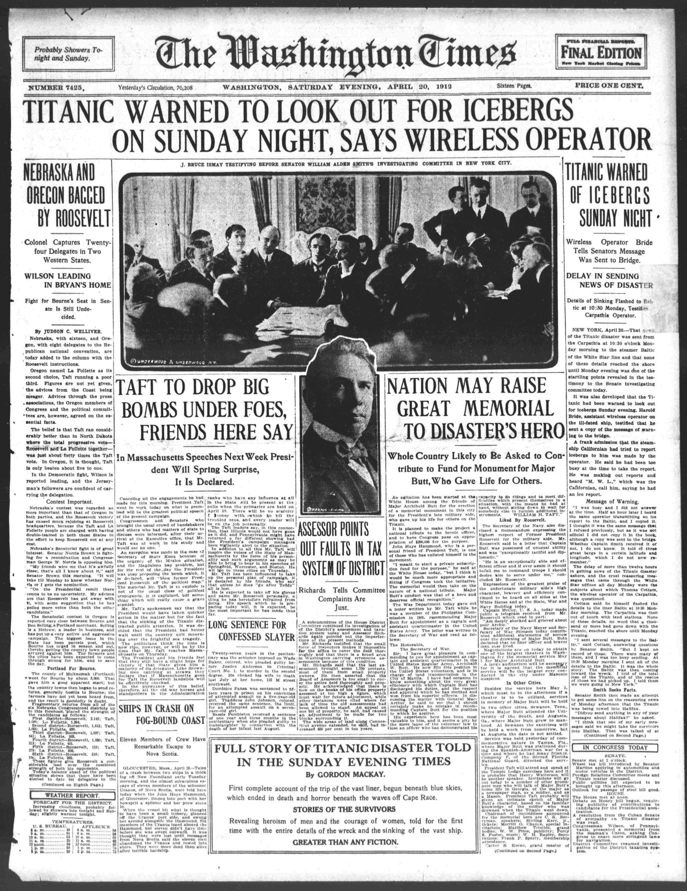 Titanic Newspaper Front Page 1912-04-20 The Washington Times, April 20, 1912, FINAL EDITION, Page 1