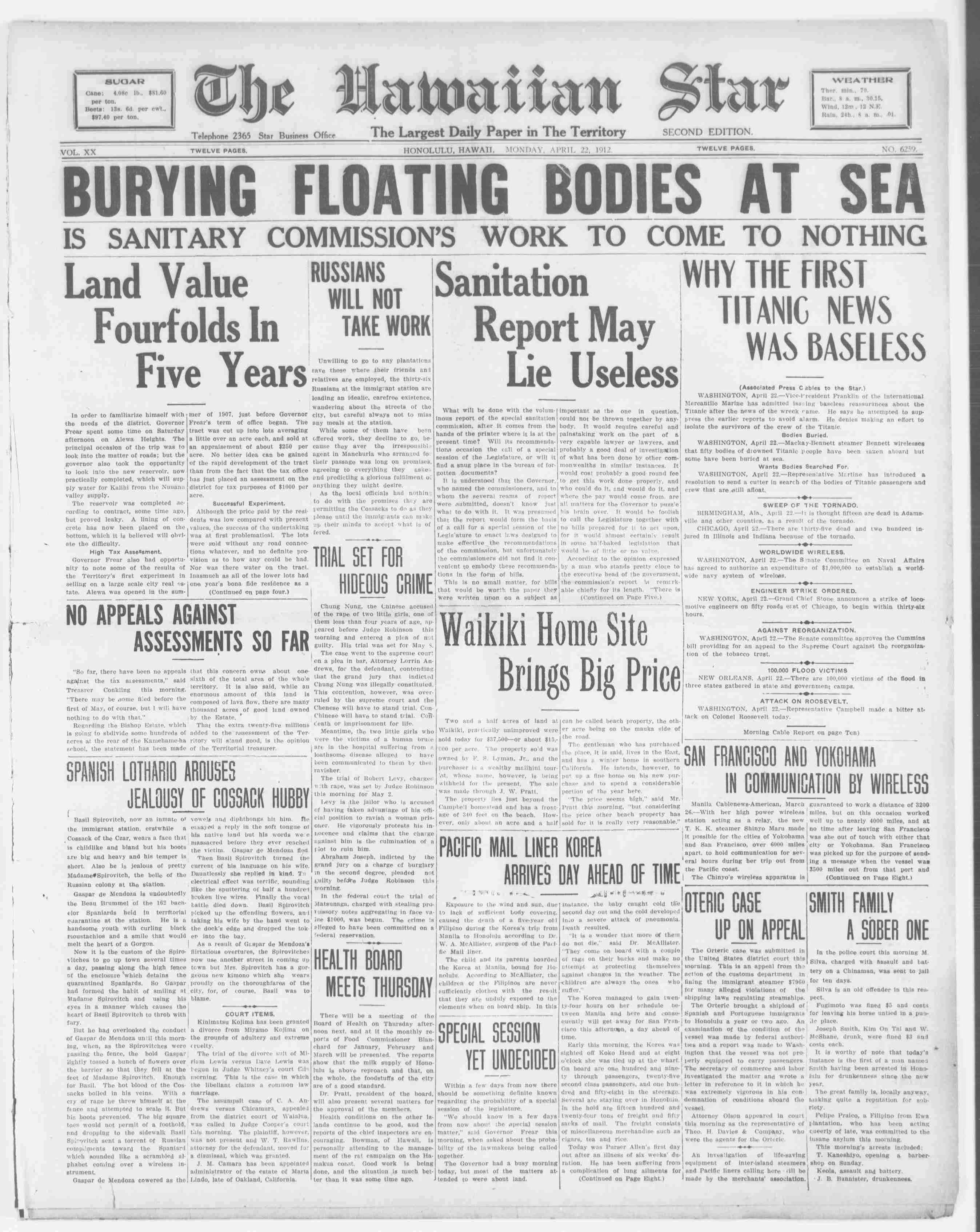 Titanic Newspaper Front Page 1912-04-22 The Hawaiian Star (Honolulu, HI), April 22, 1912, SECOND EDITION, Page 1