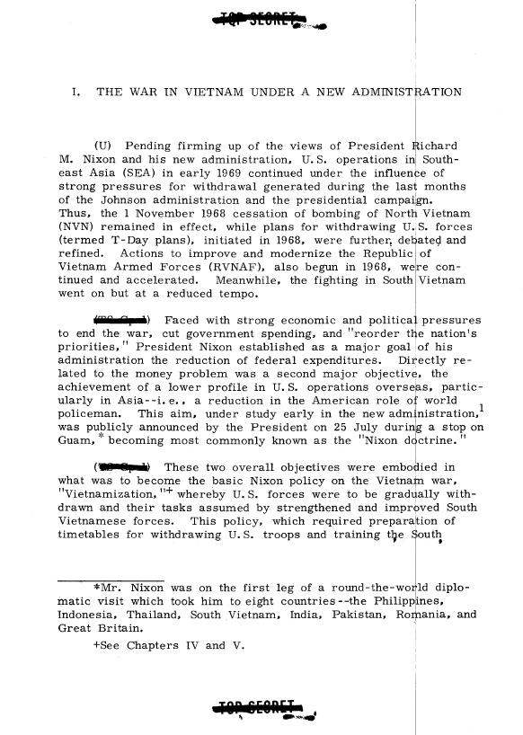 Vietnam War Blue Book Studies page from The Administration Emphasizes Air Power 1969