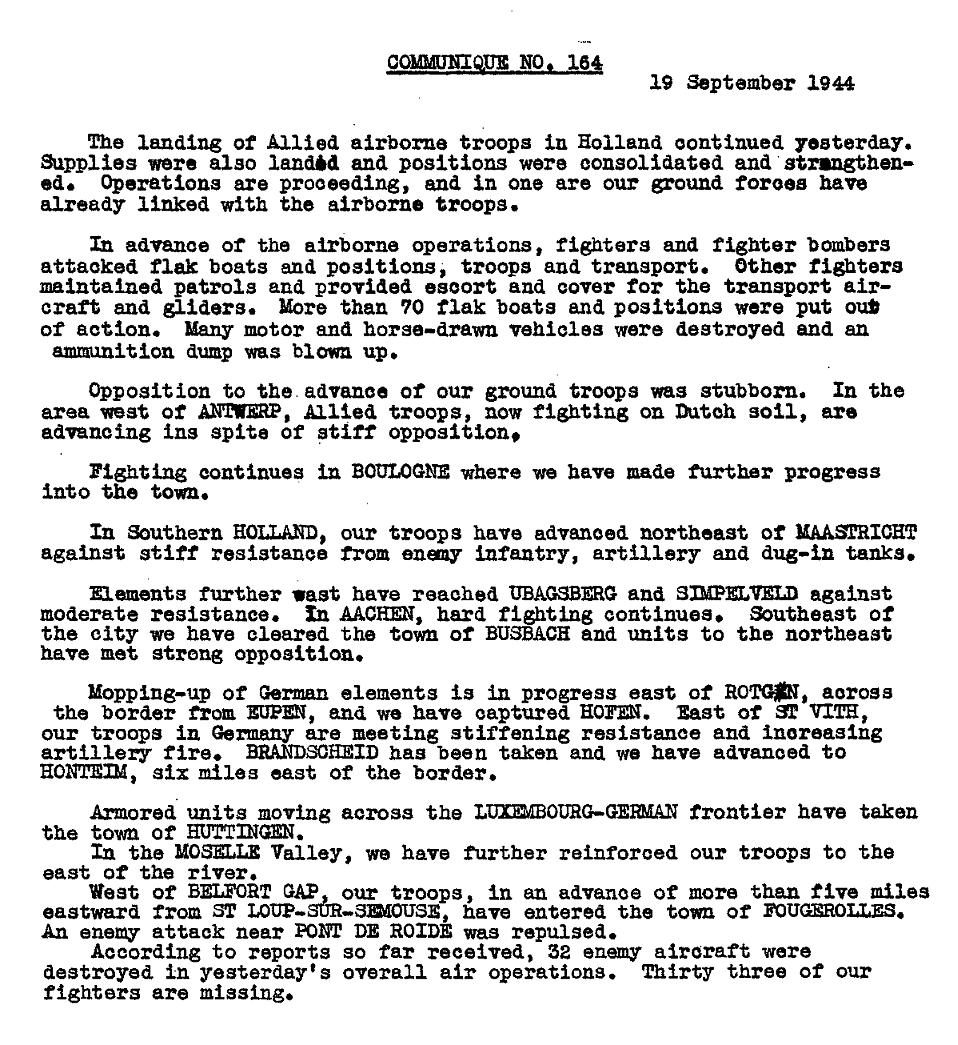 WWII SHAEF Communique - Report on progress of Operation MARKET GARDEN September 19 1944