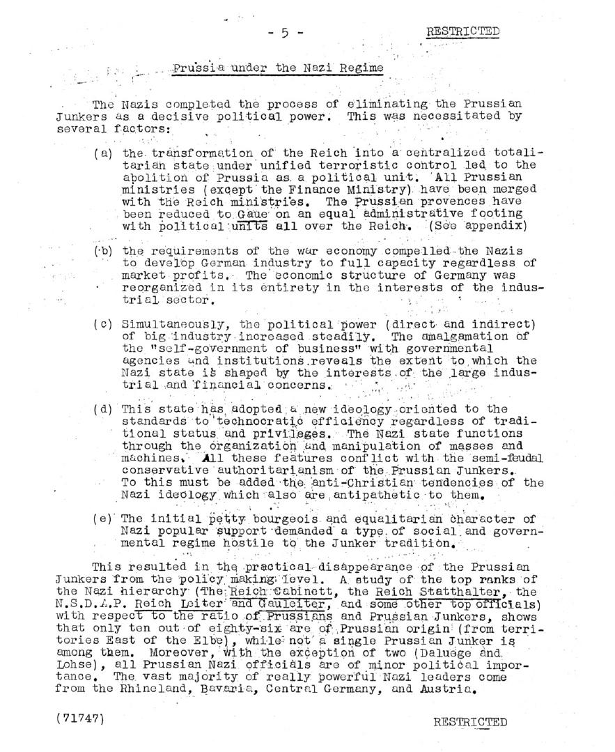 World War II German Control and Crimes in Europe OSS Reports Sample Page 1
