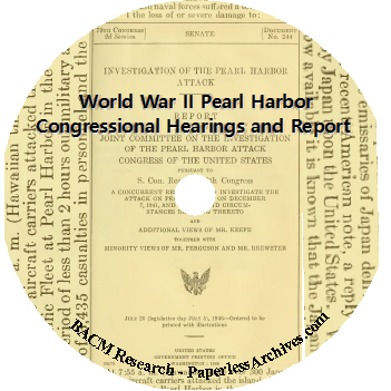 World War II Pearl Harbor Congressional Hearings and Report DVD-ROM